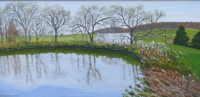 Painting - The Pond On Hill Crystal Farm by Barb Pennypacker