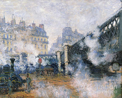Fog Painting - The Pont De Leurope Gare Saint Lazare by Claude Monet