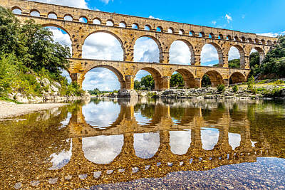 Roman Photograph - The Pont Du Gard  by W Chris Fooshee