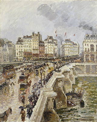Public Holiday Painting - The Pont Neuf On A Rainy Afternoon by Camille Pissarro