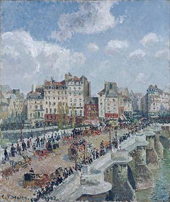 Public Holiday Painting - The Pont Neuf, Sun, 1902 by Camille Pissarro