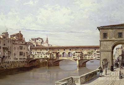 1920 Painting - The Pontevecchio - Florence  by Antonietta Brandeis