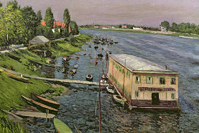 Boathouse Painting - The Pontoon At Argenteuil by Gustave Caillebotte