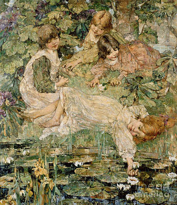 Siblings Painting - The Pool by Edward Atkinson Hornel