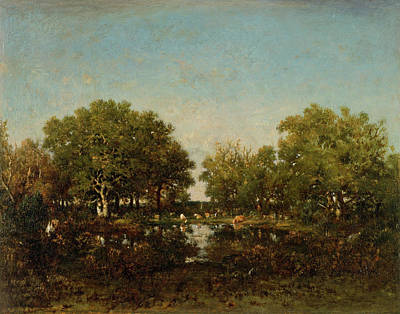 Realistic Painting - The Pool, Memory Of The Forest Of Chambord by Theodore Rousseau