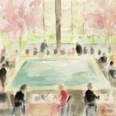 Vintage New York City Painting - The Pool Room At The Four Seasons New York by Beverly Brown