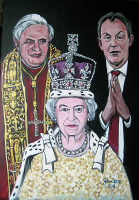 The Pope The Queen And The Politician Art Print by Ray Johnstone