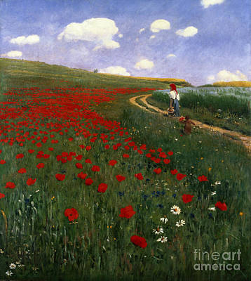 Country Side Painting - The Poppy Field by Pal Szinyei Merse