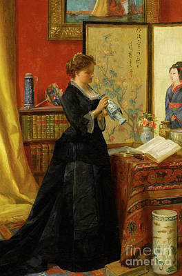 Library Painting - The Porcelain Collector by Alfred Emile Stevens
