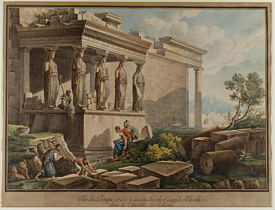 Drawing - The Porch Of The Caryatids On The Erechtheion by Louis-Francois Cassas