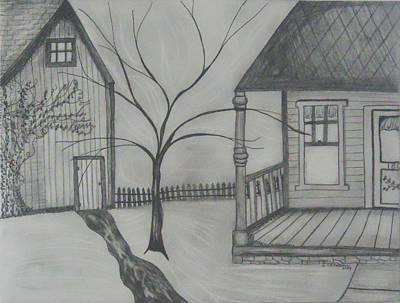 Primitive Drawing - The Porch by Shannon Crandall
