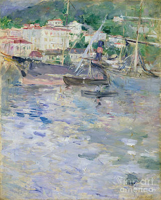 Port Town Painting - The Port At Nice by Berthe Morisot