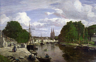 Reflecting Tree Painting - The Port At Quimper by Eugene Louis Boudin