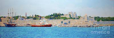 Painting - The Port Mandraki. Rhodes. Greece.  by Simon Kozhin