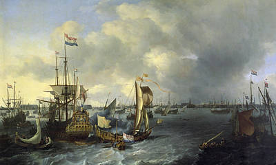 Netherlands Painting - The Port Of Amsterdam by Ludolf Backhuysen