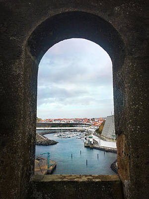 Photograph - The Port Of Angra Do Heroismo From A Window In Forte De Sao Sebastiao by Kelly Hazel