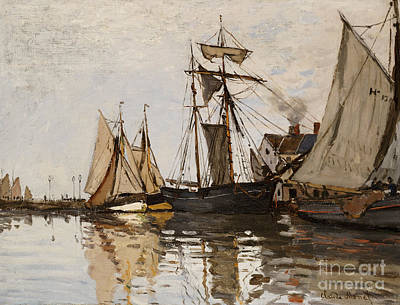 Oil Landscape Painting - The Port Of Honfleur by Claude Monet
