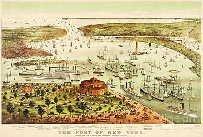 Painting - The Port Of New York Harbor by Pg Reproductions