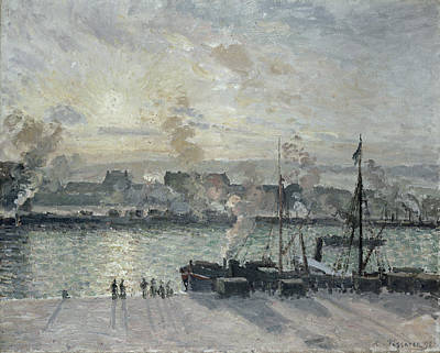 Flags Painting - The Port Of Rouen by Camille Pissarro