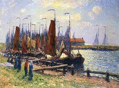 Quay Painting - The Port Of Volendam by Henry Moret