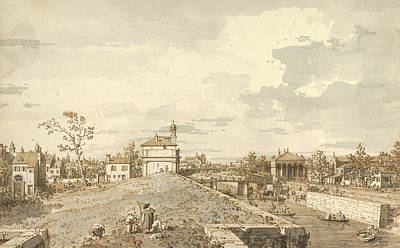 Italian Landscapes Drawing - The Porta Portello With The Brenta Canal In Padua by Canaletto