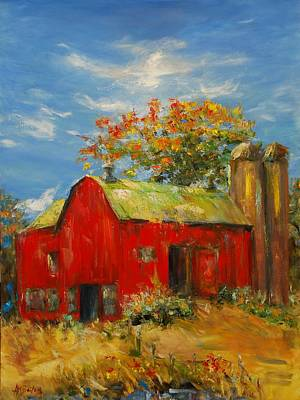 The Porter Barn In Red  Art Print by Ann Bailey