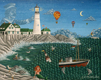 Ghost Ship Painting - The Portland Lighthouse Off The Coast Of Maine  by Joshua Mac Allistar