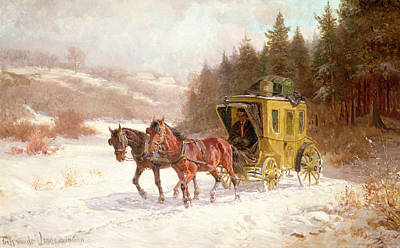 Carriage Driving Painting - The Post Coach In The Snow by Fritz van der Venne