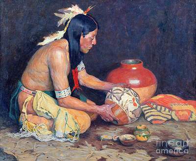 Handmade Painting - The Potter by Eanger Irving Couse