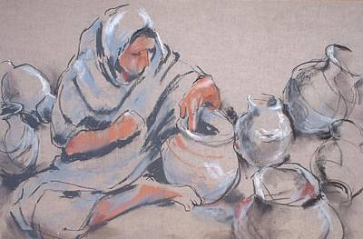 Drawing - The Potter by Joan  Jones