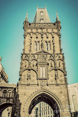 Photograph - The Powder Tower Or Prasna Brana In Prague, Czech Republic. Vintage by Michal Bednarek