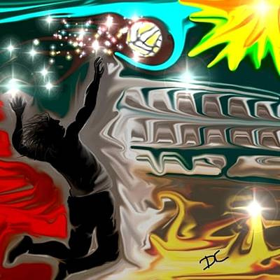 Art Print featuring the digital art The Power Of Volleyball by Darren Cannell