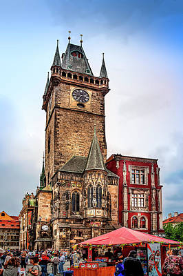 Photograph - The Prague Clock Tower by Endre Balogh
