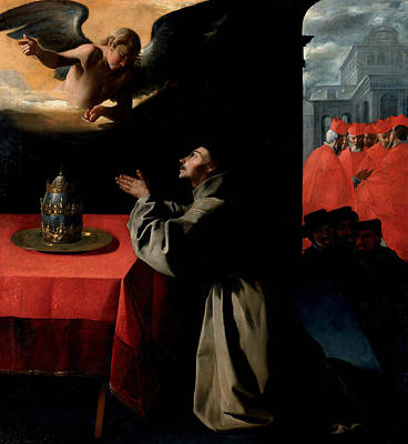 Painting - The Prayer Of St. Bonaventura About The Selection Of The New Pope by Francisco de Zurbaran