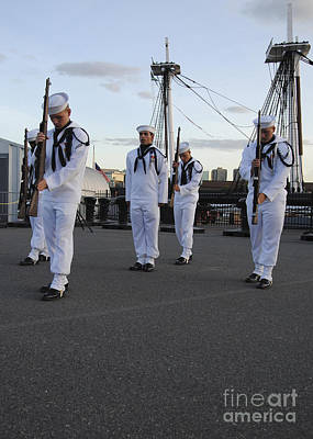 Uss Constitution Photograph - The Precision Rifle And Flag Drill Team by Stocktrek Images