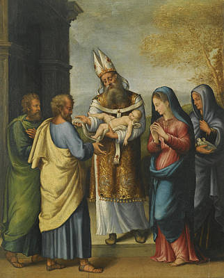Longhi Painting - The Presentation In The Temple by Luca Longhi