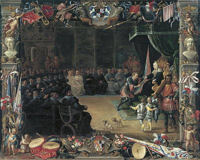 Applause Painting - The Presentation Of The Captain Generals Baton To Antonio De Moncada By The Queen Regent Blanca Of Sicily In 1410 by David Teniers Ii And Jan Van Kessel I