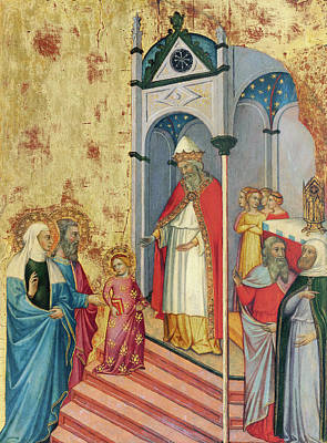 Medieval Temple Painting -  The Presentation Of The Virgin In The Temple by Andrea di Bartolo