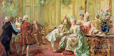 Versailles Painting - The Presentation Of The Young Mozart To Mme De Pompadour At Versailles by Vicente de Parades