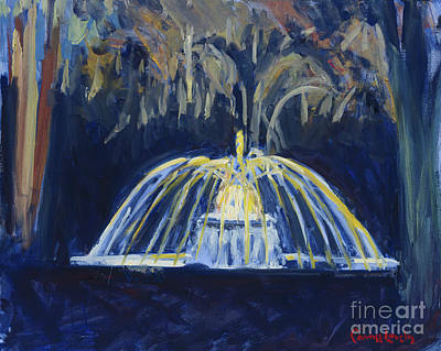 Painting - The Preserve Fountain At Night by Candace Lovely