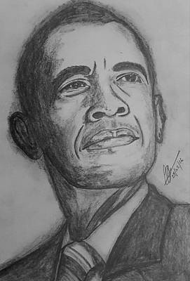 Barack Obama Drawing - The President  by Collin A Clarke
