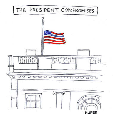 Drawing - The President Compromises by Peter Kuper
