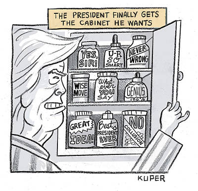 Drawing - The President Finally Gets The Cabinet He Wants by Peter Kuper