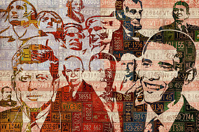 The Presidents Past Recycled Vintage License Plate Art Collage Art Print