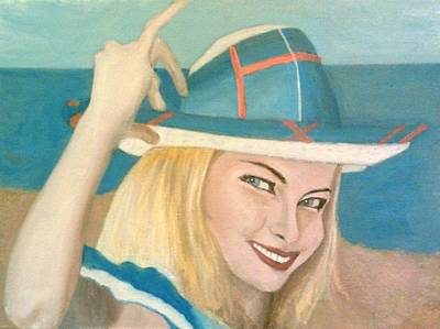 Painting - The Pretty Blonde Holds Her Hat Down On Her Head by Peter Gartner