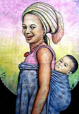 Origins Of Life Painting - The Pride Of Motherhood by Mbonu Emerem