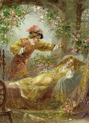 Flower Pink Fairy Child Painting - The Prince Finds The Sleeping Beauty by English School