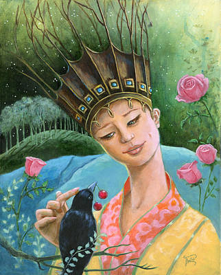The Princess And The Crow Art Print by Terry Webb Harshman