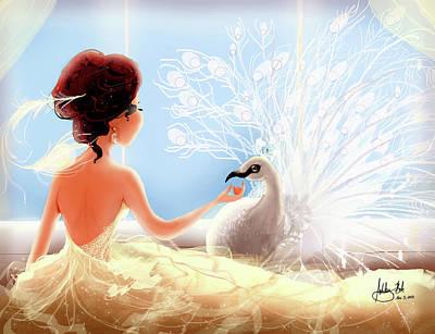 Hair Bun Digital Art - The Princess And The Peacock by Ashley Boh