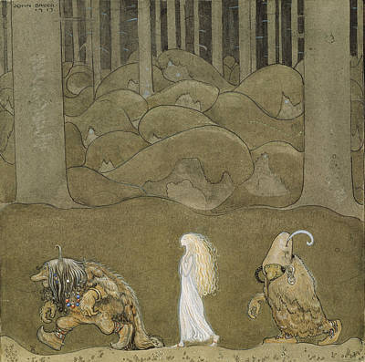 John Bauer Painting - The Princess And The Trolls by John Bauer
